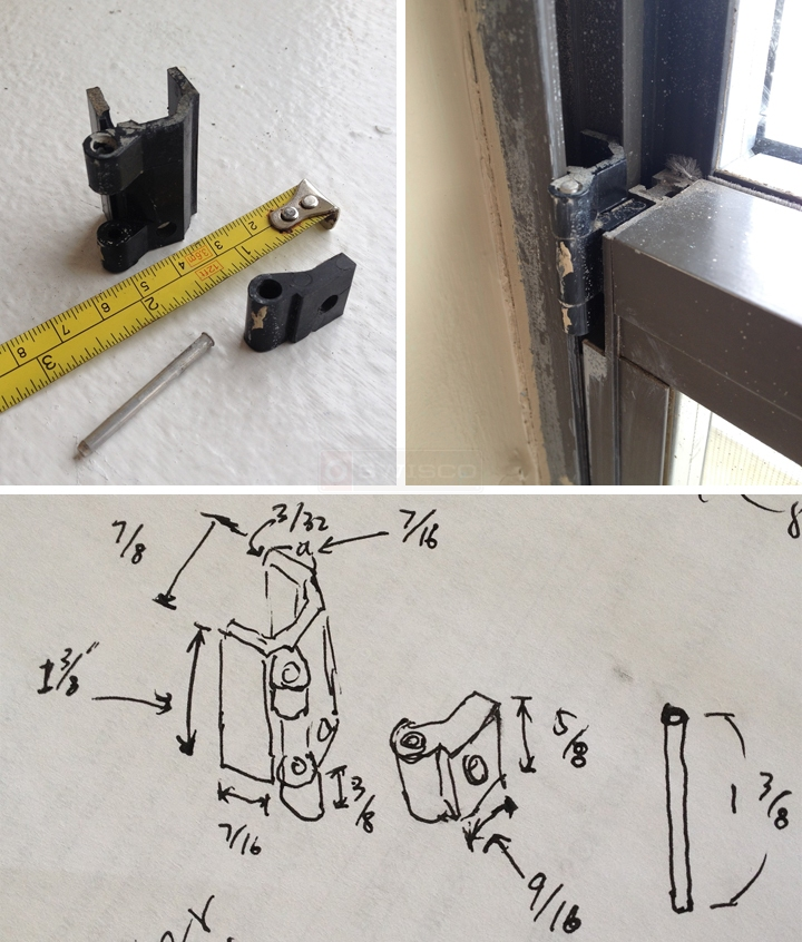 User submitted photos of window hinges.