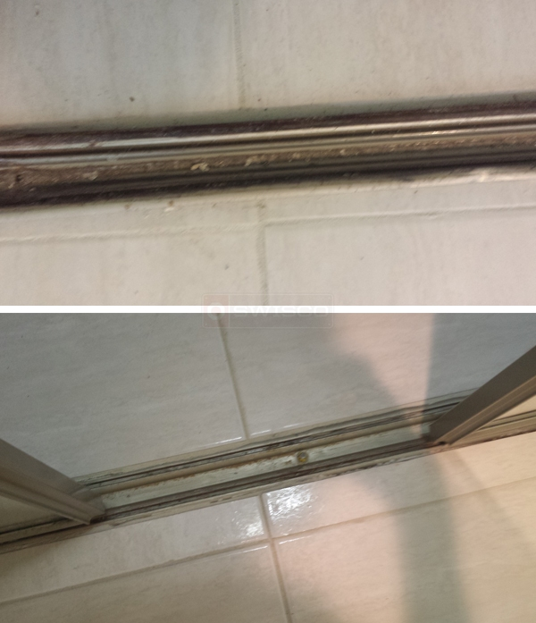 User submitted photos of a closet door track.