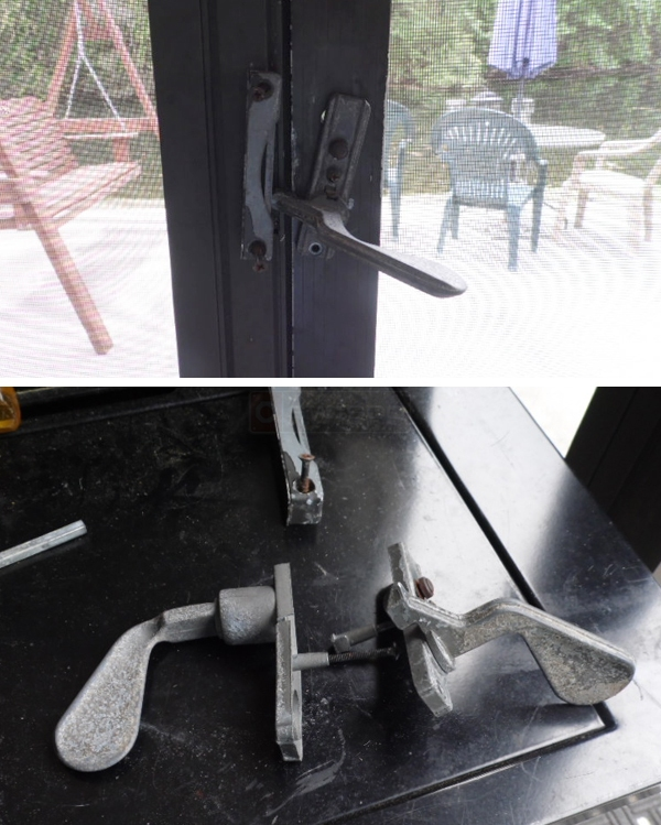 User submitted photos of a screen door handle set.
