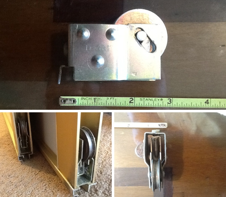 User submitted photos of mirror closet door hardware.