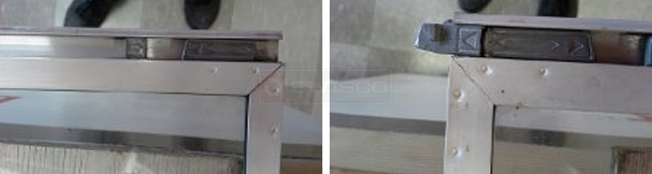 User submitted photos of a storm door window latch.