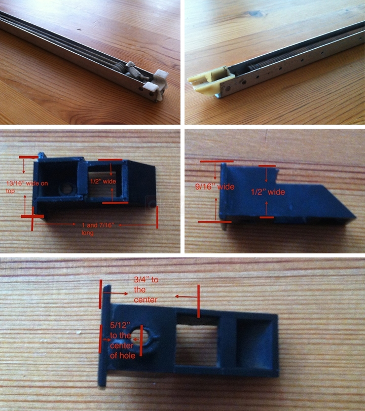 User submitted photos of a window balance & top sash guide.