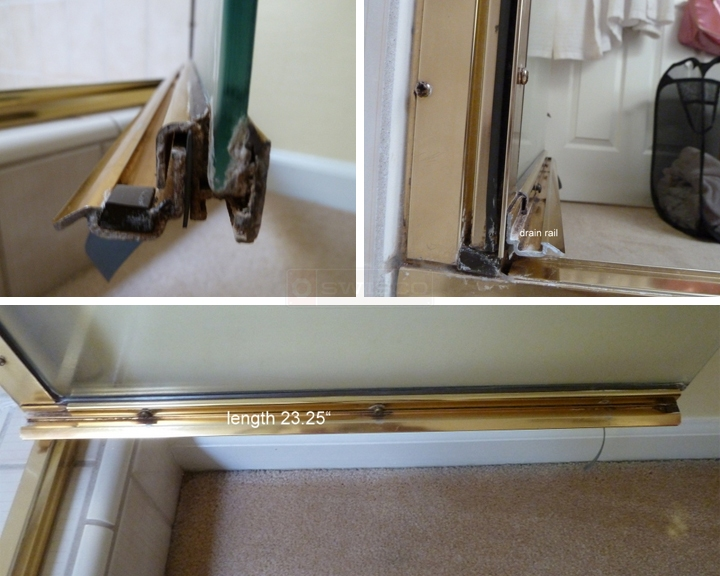 User submitted photos of shower door hardware.