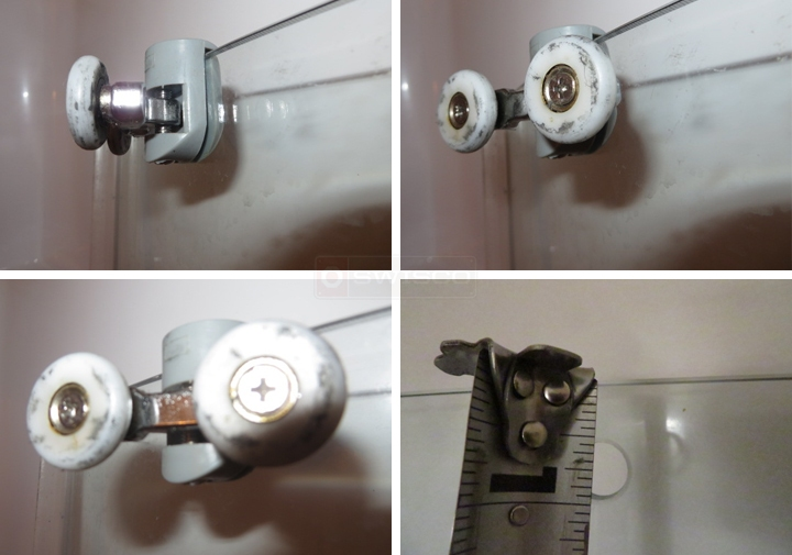 User submitted photos of shower door rollers.