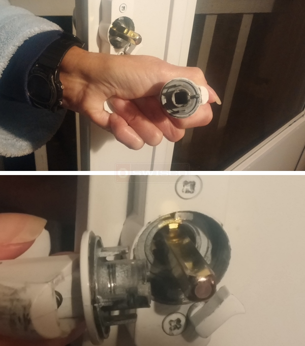 User submitted photos of a storm door handle.