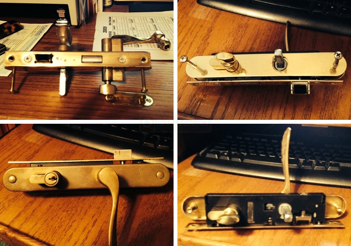 User submitted photos of a storm door handle set.