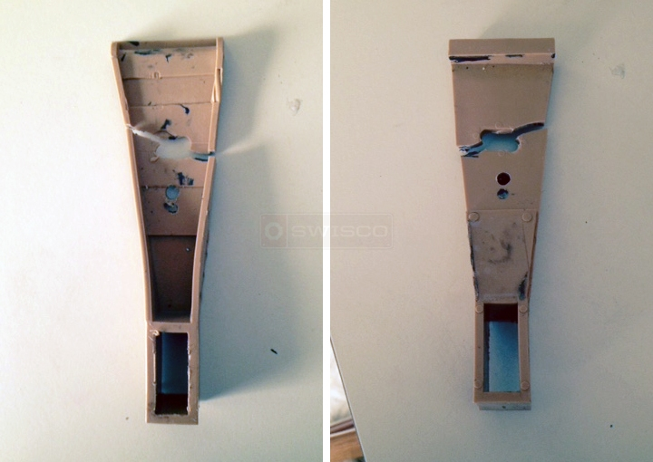 User submitted photos of a drawer bracket.