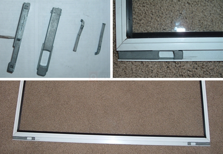 User submitted photos of storm window latches.