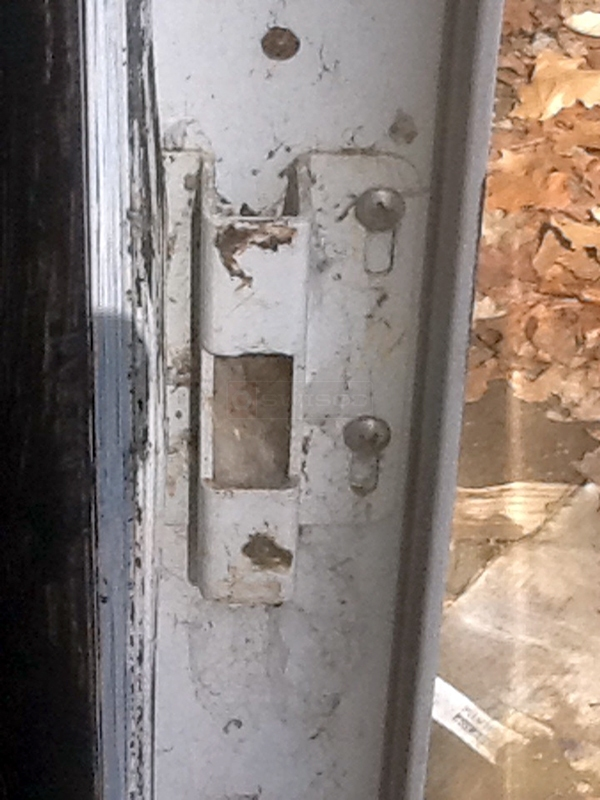 User submitted a photo of a patio door strike plate.