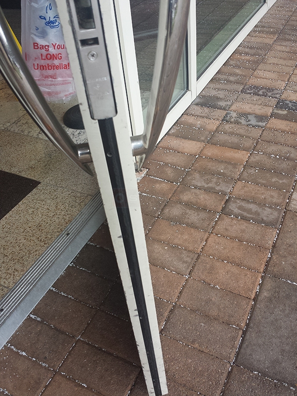 User submitted a photo of commercial door weatherstripping.