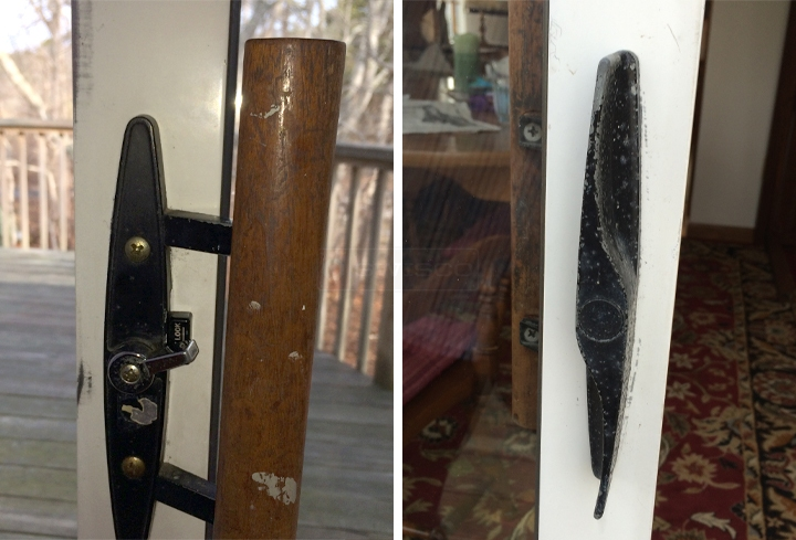 User submitted photos of a patio door handle set.