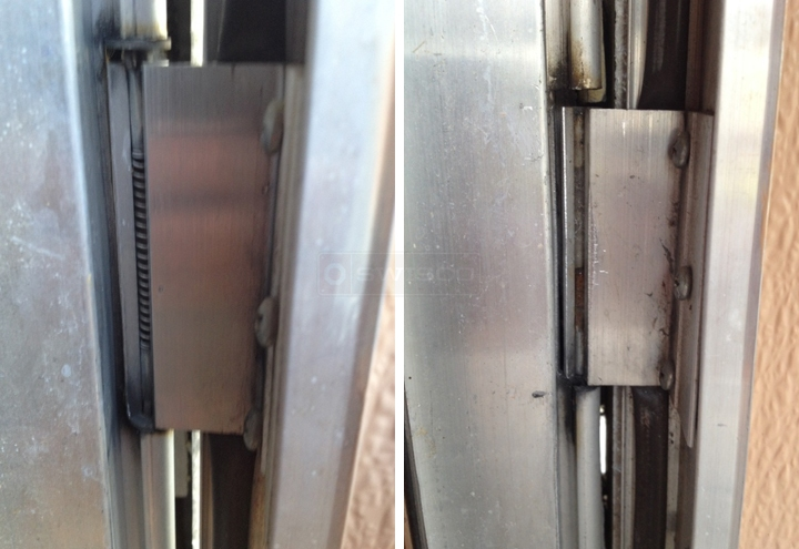 User submitted photos of a storm door hinge.