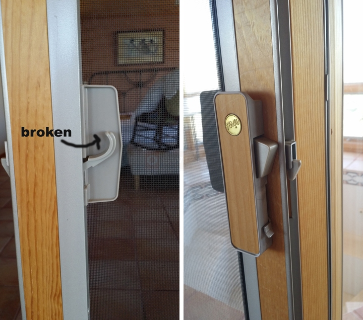 User submitted photos of patio screen door hardware.