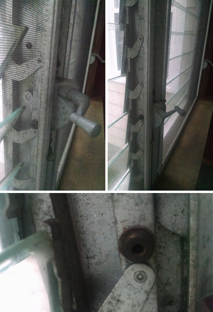 User submitted photos of jalousie window hardware.