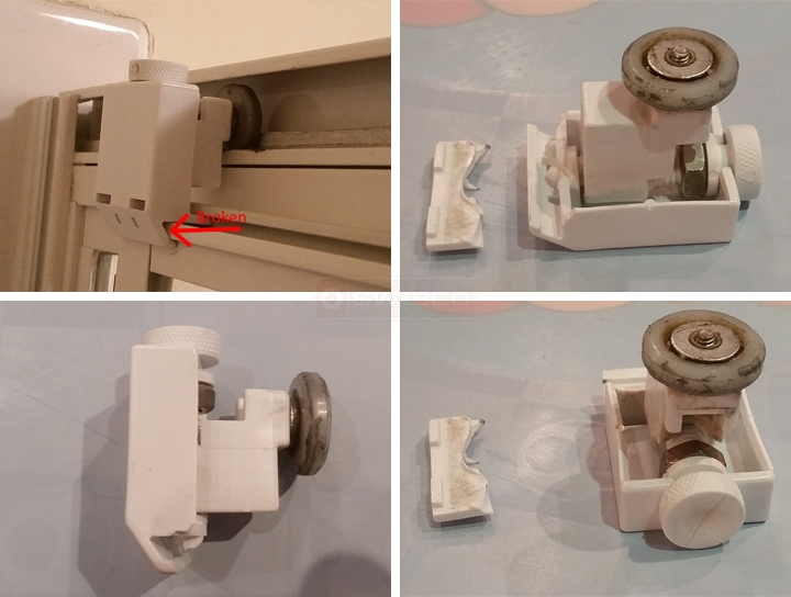 User submitted photos of a shower door roller.