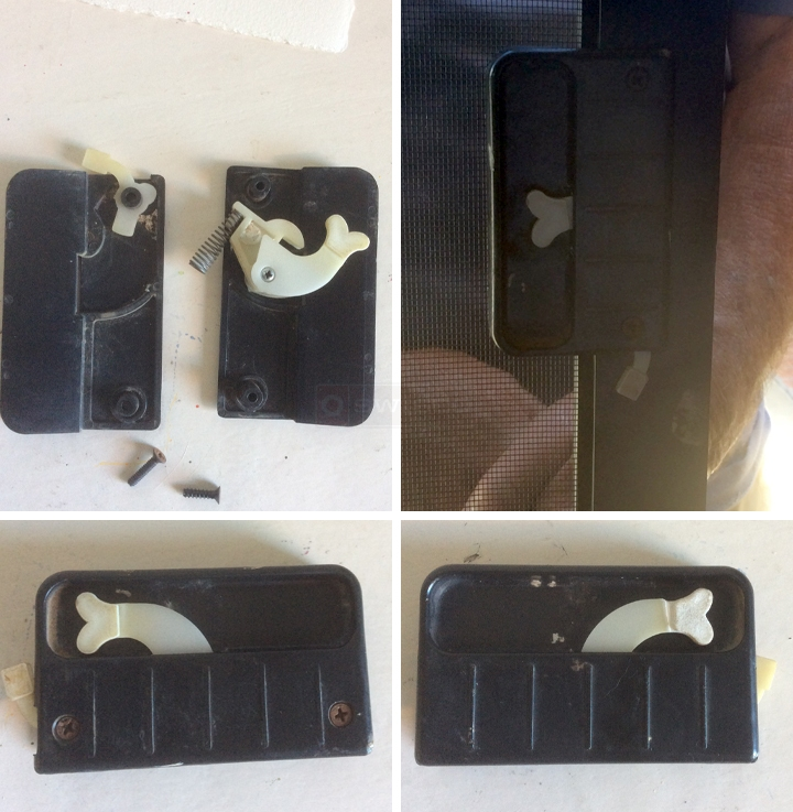 User submitted photos of a screen door latch.