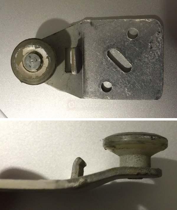 User submitted photos of a closet door roller.