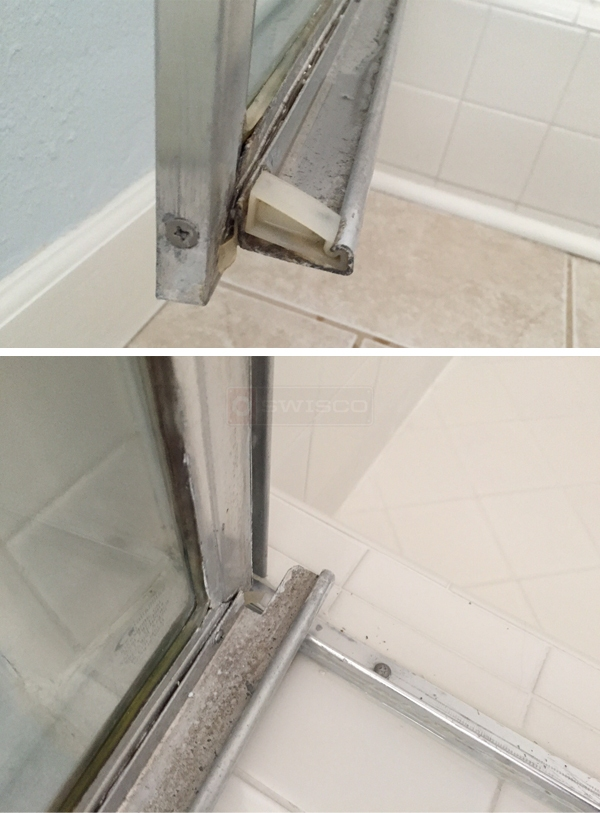 User submitted photos of a shower door sweep.