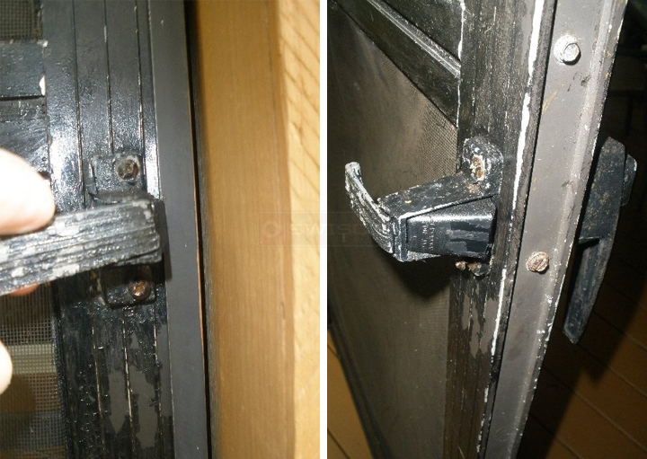 User submitted photos of a storm door latch.