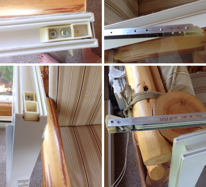 User submitted photos of a top sash guide & balance.