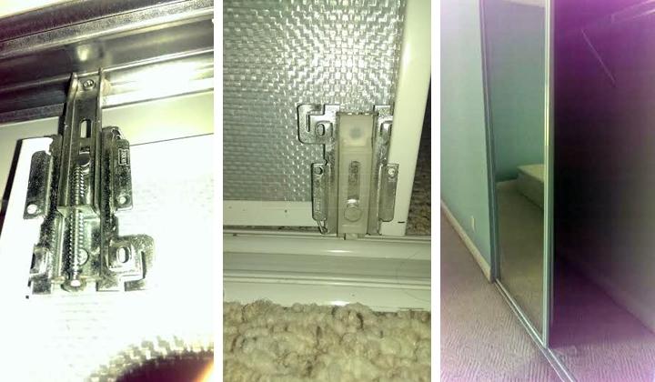 mirrored bypass closet door hardware question. Black Bedroom Furniture Sets. Home Design Ideas