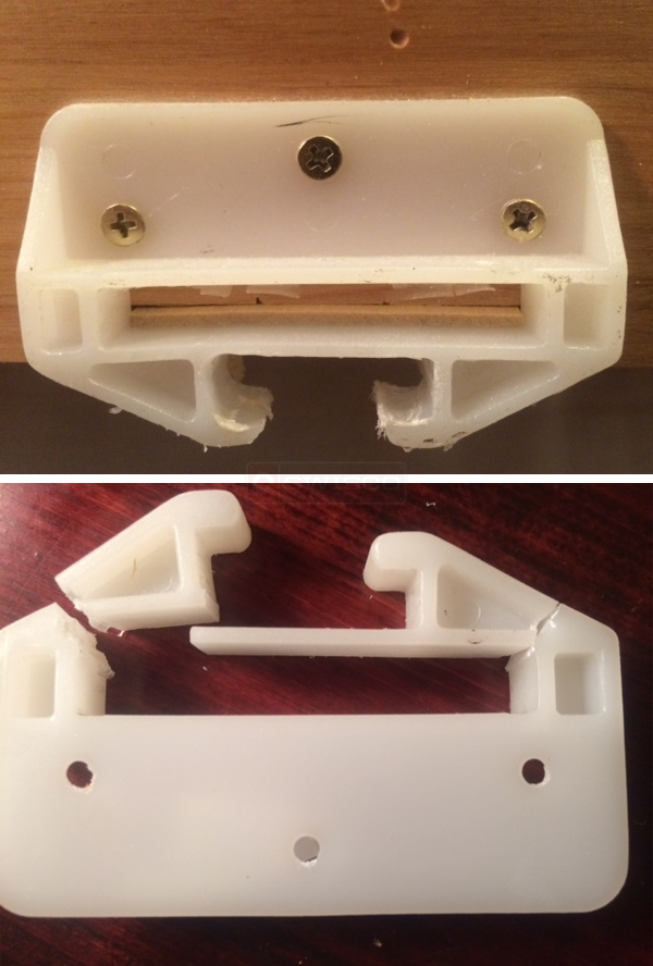 User submitted photos of a drawer guide.