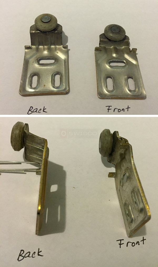 User submitted photos of closet door rollers.