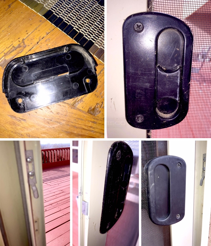 User submitted photos of a screen door pull latch.
