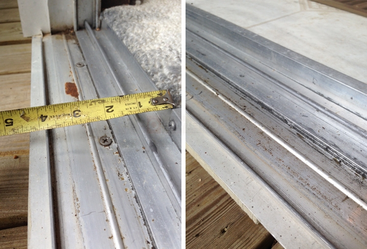 User submitted photos of a patio door track.