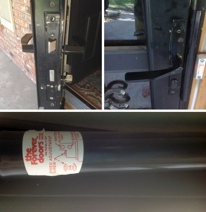 User submitted photos of storm door hardware.