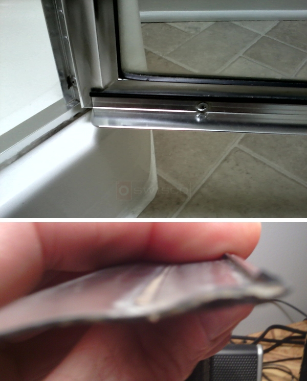 User submitted photos of shower door hardware. & Shower door drip rail issue : SWISCO.com
