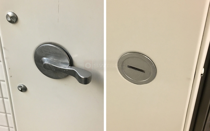 User submitted photos of lavatory partition hardware.