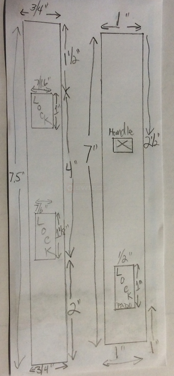 User submitted a diagram of patio door hardware.