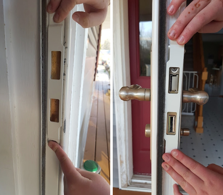 User submitted photos of a storm door strike plate.