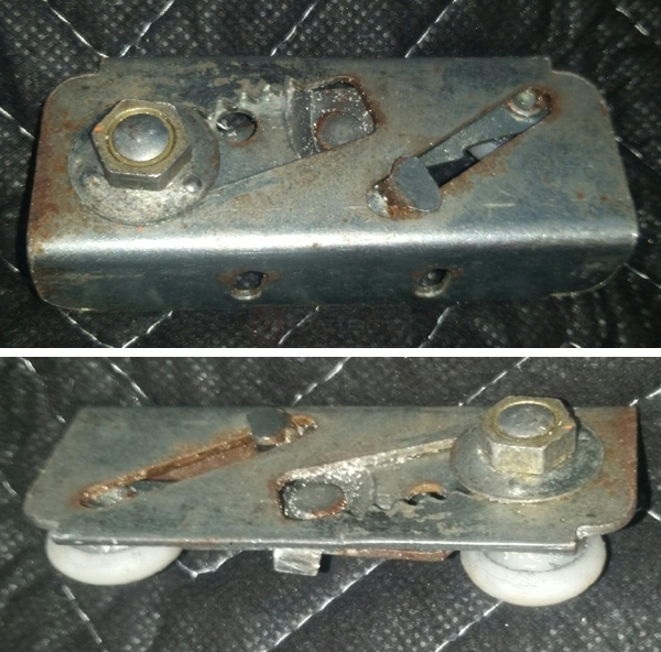 User submitted photos of a pocket door roller.