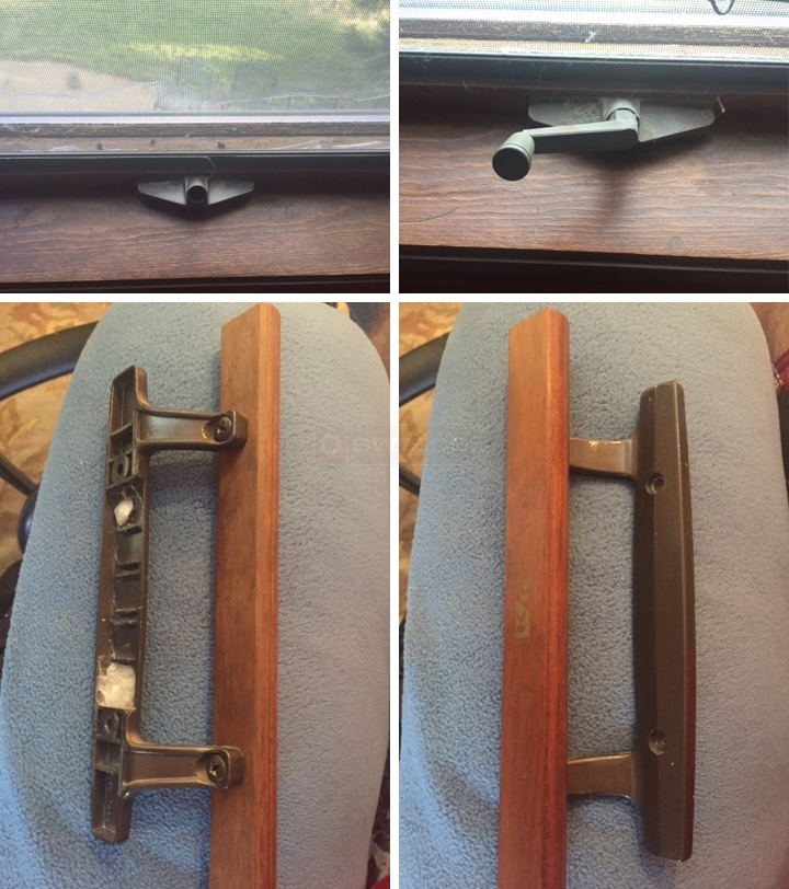 User submitted photos of a window operator and a patio door handle.