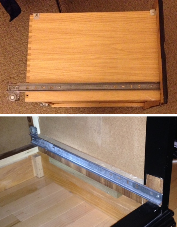 User submitted photos of drawer tracks.